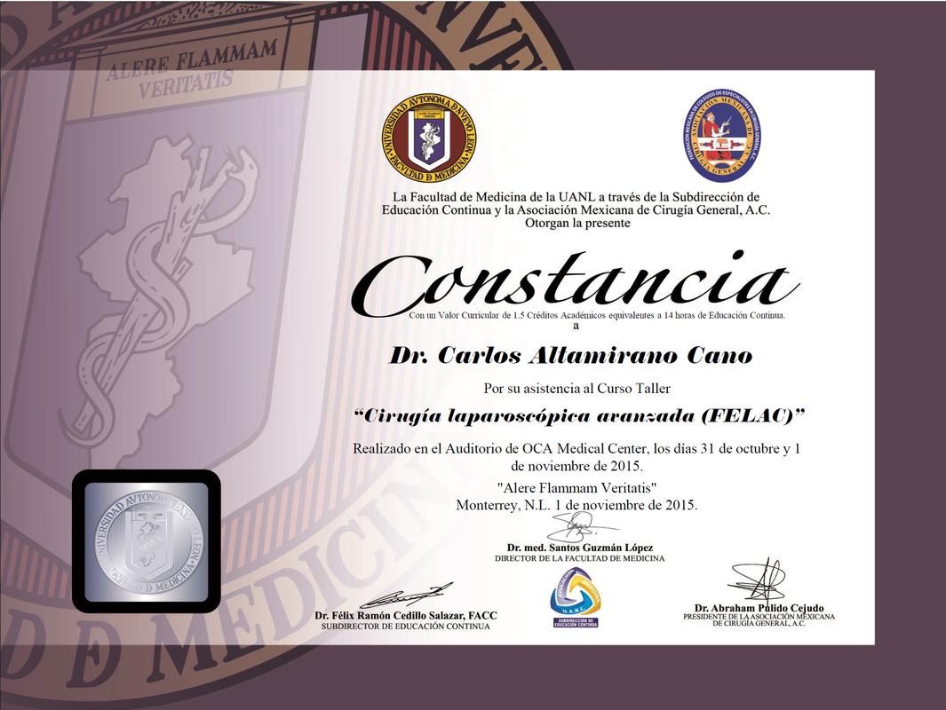 Dr Carlos Altamiranos Credentials Dr Carlos Altamirano Cano